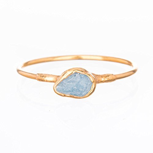 Size 8 Dainty Raw Aquamarine Ring, Yellow Gold, March Birthstone Jewelry ()