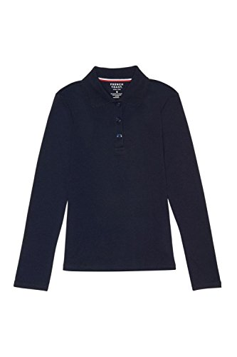 French Toast Little Girls' Long Sleeve Interlock Polo With Picot Collar, Navy, 4