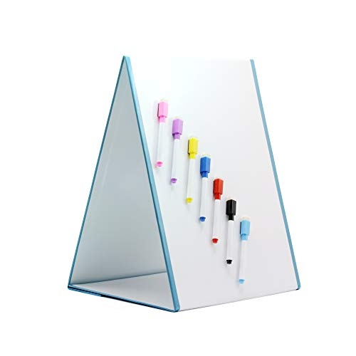 Easy Teach Dry Erase Tabletop Whiteboard Easel, Double Sided Magnetic White Board, With 7 Markers, For Classroom and Educational Kids Toys