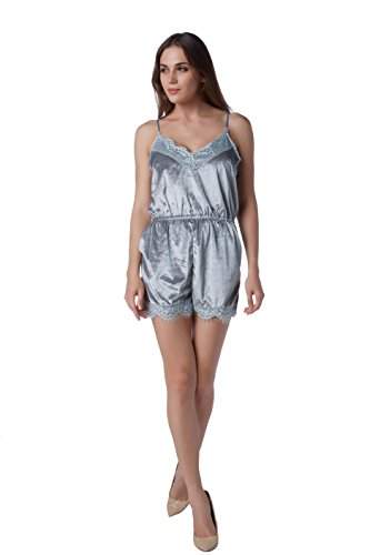 Lovaru Women's Cami Pajamas Satin Lace Jumpsuit Shorts Romper Set Sleepwear