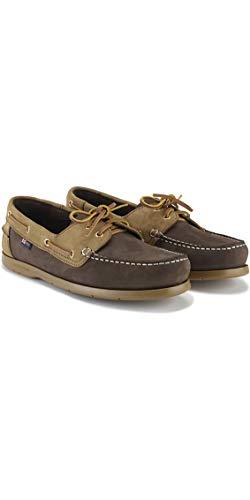 Henri Lloyd Arkansa Deck Sailing Shoes Dark Brown Brown Nubuck Caramel - Lightweight. Breathable - Contrast Stitch Detail