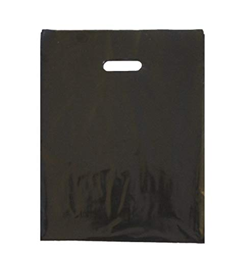 - 100 12x15 Durable Black Merchandise bags Pick ur Color Die Cut Handle-Glossy finish-Anti-Strech-100% Recyclable. For Retail store, Party favors, Handouts Plastic bags and more by Best Choice