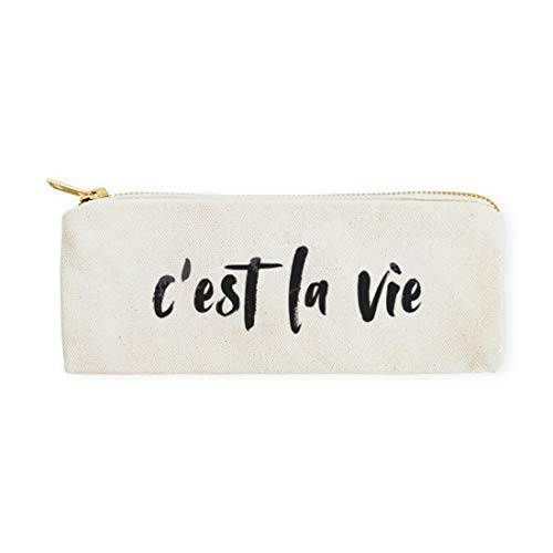 The Cotton & Canvas Co. C'est La Vie Cosmetic Case, Pencil Case and Travel Pouch for Office and Back to School ()