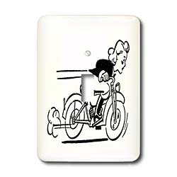 3dRose lsp/_62595/_1Black n White Drawing Of Girl Racing A Motorcycle Single Toggle Switch Multicolor