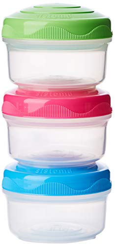 - Sistema To Go Collection Mini Bites Small Food Storage Containers, 4.3 oz./127 mL, Pink/Green/Blue, 3 Count