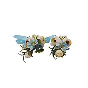 Abbie Home Wedding Wrist Corsage Brooch Boutonniere Set Party Prom Hand Flower Decor (8003-WB) 34