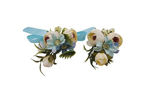 (Abbie Home Wedding Wrist Corsage Brooch Boutonniere Set Party Prom Hand Flower Decor (8003-WB))