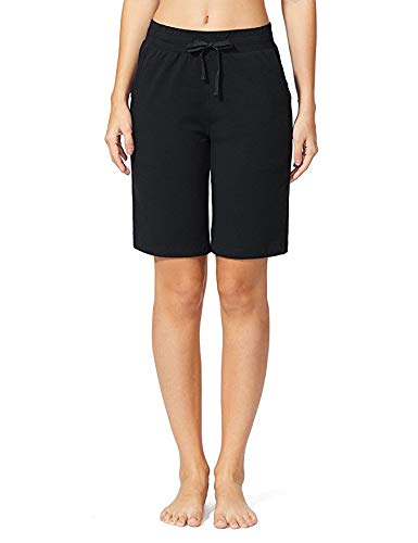 Sudawave Women's Active Yoga Lounge Bermuda Shorts with Pockets (Black, X-Large) ()