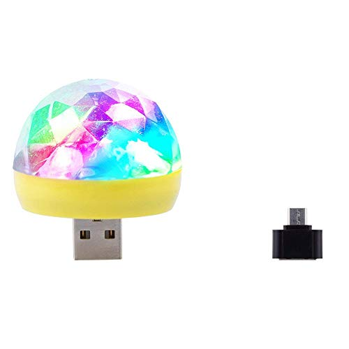 Party Light Ball, USB Small Mini LED RGB Disco Stage Light Cool Party Club DJ KTV Xmas Magic Phone Ball Lamp Android Mico-USB Port for Christmas, Home Activities, Entertainment, Festivals (YE) ()