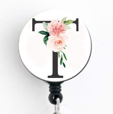 (T Initial Etheral Floral Rose - Retractable Badge Reel with Swivel Clip and Extra-Long 34 inch Cord - Badge Holder)