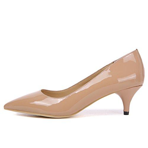 Damen Schwarz Pumps Schuhe mit Absatz Ladies Lackleder Elegant Mid Kitten Heels Spitze Arbeit Büro Schuhe Nude Lackleder