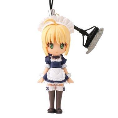 Fate / Stay Night Caspdule Q Fortune Figure Cell Phone Charm Strap~ Saber Maid costume~Middle Luck by Kaiyodo (Fate Stay Night Phone Charm)