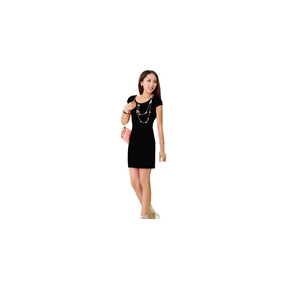 Fashion Sexy Women Striped Strech Cocktail Party Club Slim Evening Mini Dress (XL, black)