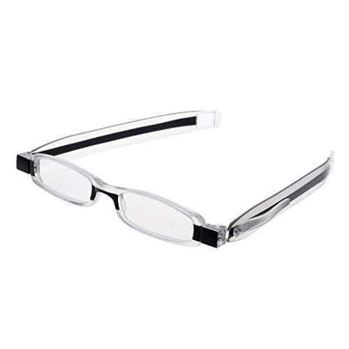 chuwa Reading Glasses Mini Slim Spring Hinge 360° Rotating Foldable Pocket Presbyopic Blue Light Blocking Eye Glasses (Lesebrille 0 25)