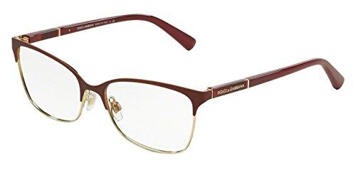 Dolce&Gabbana LOGO PLAQUE DG1268 Eyeglass Frames 1255-54 - Matte Dk Red/Pale Gold