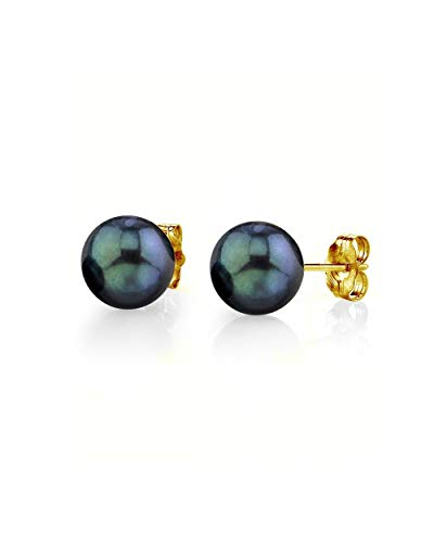 THE PEARL SOURCE 14K Gold 6.5-7mm Round Black Cultured Akoya Stud Pearl Earrings for Women