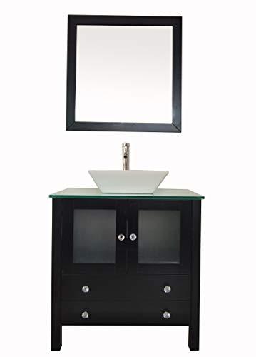 """30"""" Freestanding Wooden Modern Bathroom Vanity Ceramic Sink Vessel Set Bathroom Mirror included (BLACK)"""
