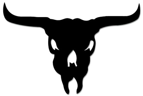 (Texas Longhorn Cow Bull Skull Vinyl Decal Sticker For Vehicle Car Truck Window Bumper Wall Decor - [12 inch/30 cm Wide] - Matte WHITE Color)
