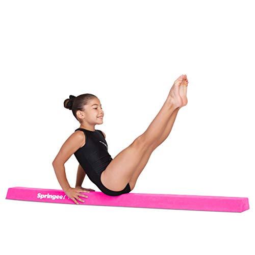 Springee 5ft Balance Beam - Extra Firm - Suede Sectional Gymnastics Beam for Home - Pink