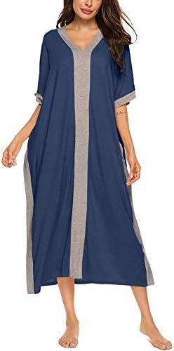 Bloggerlove Nightgowns Kaftan Dresses For Women House Dresses Maxi Caftan Loungewear V Neck Sleep Shirt Cotton Sleepwear