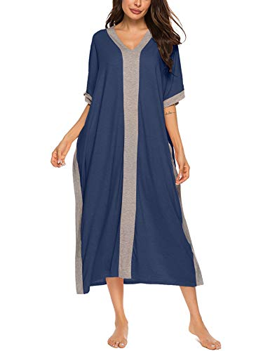 Bloggerlove Long Nightgown Women's Loungewear Short Sleeve Nightshirt Full Length Sleepwear Navy