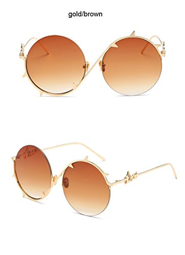 gafas Fashion Brown Gold Brown Cool protectoras Gafas Steampunk sol Aprigy hip hombre sol para oculares hop Gold de de gafas doradas plateadas Pinhole qa5dB