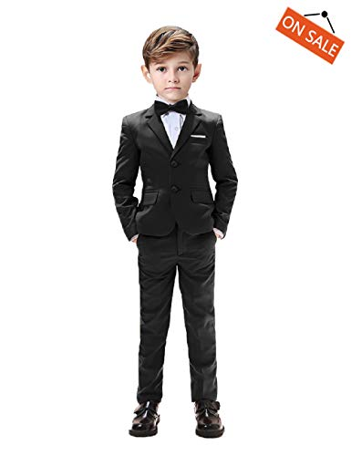 Kids Suits for Boys Tuxedo 5 Pieces Blazer Vest Pants Shirt Slim Fit Suits for Boys Size 6 Black]()