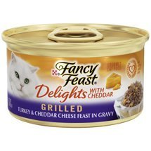 (6 cans of Purina Fancy Fest Delights Grilled Turkey & Cheddar Cheese Feast in Gravy Wet Cat Food, 3-oz ea)