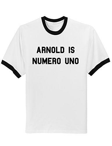 Arnold is Numero Uno Weightlifting Ringer T-shirt- Large - White/Black