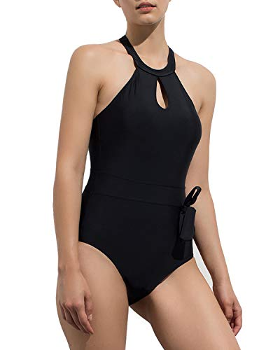 a3e5225052491 HAIVIDO Women s High Neck Keyhole Front One Piece Swimsuit Back Criss Cross  Straps Bathing Suits for