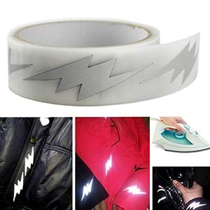 DalaB High Visibility Safety Heat-Transfer Vinyl Film DIY Silver Reflective Iron on Fabric Clothing Tape (36 Style for Choose) 1meter - (Color: M17)