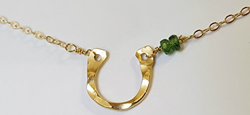 Gold Horseshoe Necklace-14k Filled Emerald Good Luck Charm Jewelry Gift -Mothers Day,Birthday (Emerald Horseshoe)