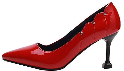 7 Calaier Bout Rouge Huafui nbsp;pointu Femme Escarpins Sur Chaussures Glisser 5cm wPkuiOZTX