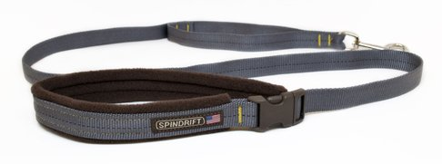 "Spindrift Cozy Fleece Lined Dog Leash/Lead, Granite, 3/4"" x 6ft"