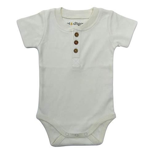 Baby Henley - Cat & Dogma Organic Unisex Short Sleeve Bodysuit (Natural/Henley, 3-6 Months)
