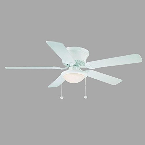 Hampton Bay AL383-WH Hugger 52 inch Low Profile White Dome Light Ceiling Fan For Sale