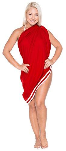 La Leela rayón suave pareo envoltura de oro de encaje encubrir la falda pareo de bikini en 78x39 Rojo