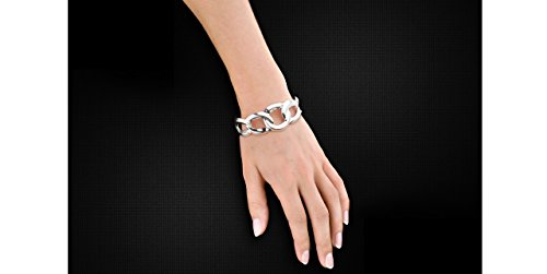 Canyon bijoux Bracelet manchette maillons en argent 925 passivé, 31.5g, Ø65mm