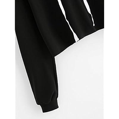 SweatyRocks Women's Letter Print Long Sleeve Crop Top Sweatshirt Hoodies at Women's Clothing store