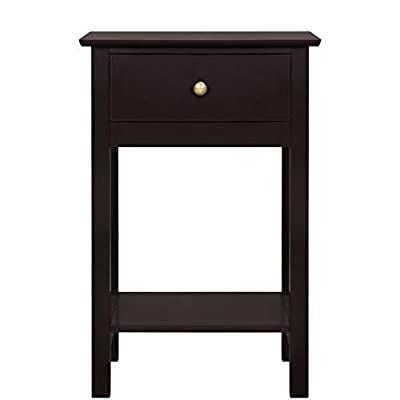 Yaheetech Bedside End Tables Nightstands Storage Sofa Cabinet with 1 Drawer and Open Shelf for Bedroom, Espresso
