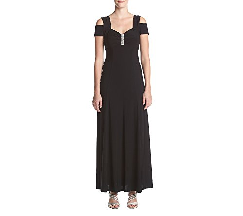 R&M Richards Women's one Piece Long Missy Cold Shoulder Gown,  Black,  10 (Long Ladies Gowns)