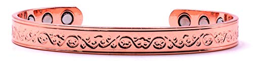 Stunning Copper Magnetic Bracelet for Arthritis 6 Magnets Stunning Copper Magnetic Bracelet with Unique Floral Design, Commonly Worn for Pain Relief and Magnetic Healing (Ionetix Bracelet)