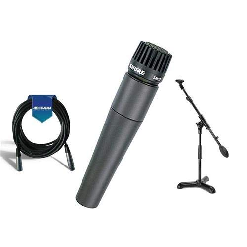 - Shure SM57-LC Cardioid, Dynamic Handheld Wired Microphone. - Bundle With 20' Heavy Duty 7mm Rubber XLR Microphone Cable, Samson MB1 Mini Boom Stand
