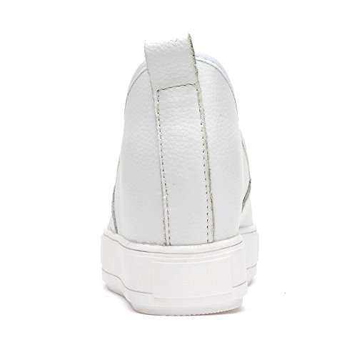 Abby Qzyyu-a6607 Dames Comfortabel Sneldrogend Leren Slip-on-schoenen Antislippend Casual Comfortabele Penny Loafers Innerlijke Wig Toenemende Ronde Neus Flatform Wit