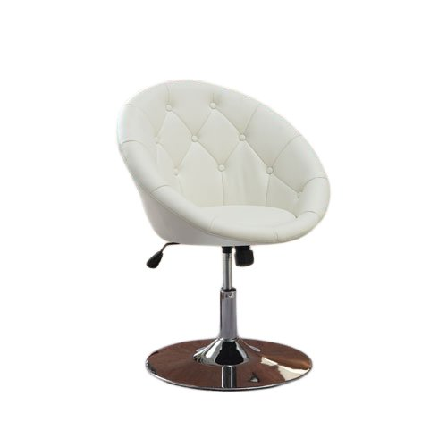 jersey seating Coaster 7060 Round Back Swivel Chair, Hydraulic Lift Tilt Tension -White