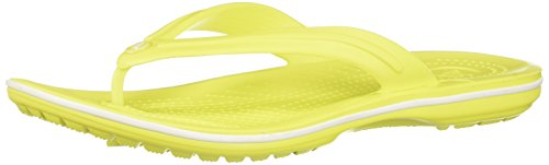 Crocs Unisex Crocband Synthetic Flip-Flops Tennis Ball Green-White Size EU 38-39 - US M6W8