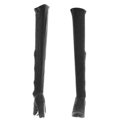 Bamboe Stretchy Chunky Block Hak Dij Hoge Otk, Over-the-knee Puntige Toe Laars 03 Zwart Suede