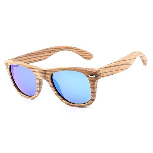 Manera la Deporte polarizadas Aire clásica Unisex Azul Azul de de Madera del Remache bambú del vidrios bambú de Color sol al Madera de Cebra Gafas de Gafas Libre la de BqZgZ80