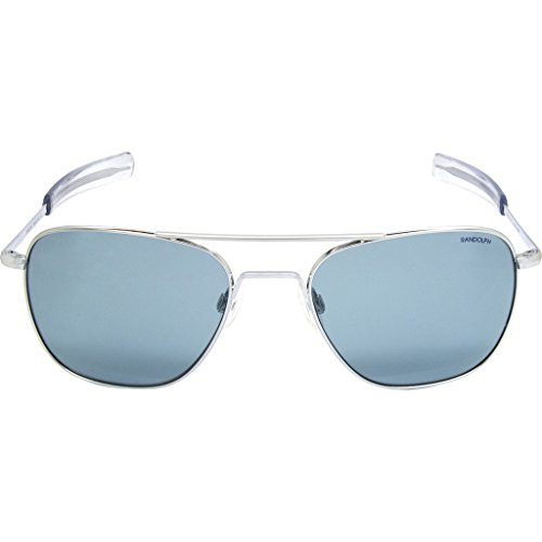 Randolph Unisex Aviator 55mm Bright Chrome/Blue Hydro Bayonet - Sunglasses With Crown Logo