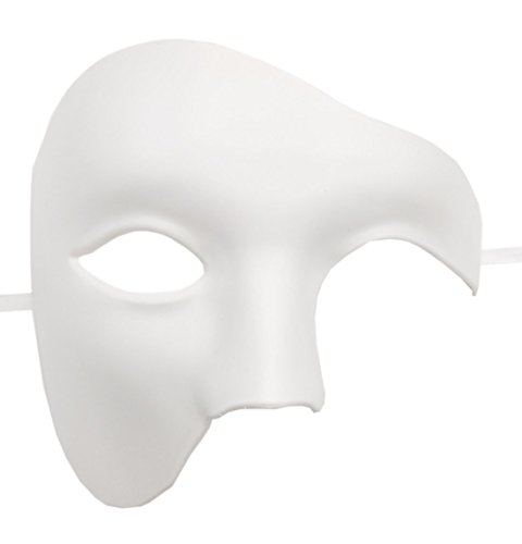 Mens Masquerade Mask Phantom of The Opera Mask Venetian Half Face Mask Halloween Costumes (Solid White) -